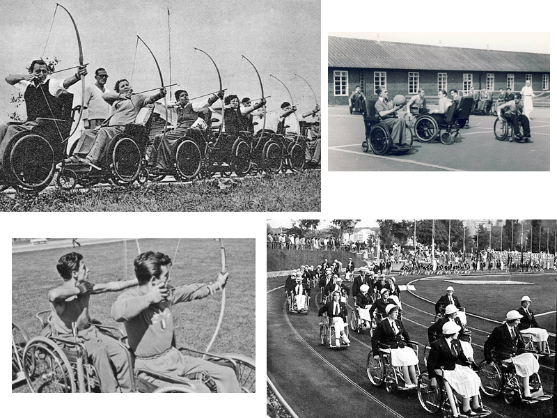 Сверху: Лучники на первых Играх Сток-Мандевилла, август 1948 г. Баскетбол на колясках в Сток-Мандевилле в 1950-х годах. Снизу: Паралимпийские игры в Риме, 1960 год.