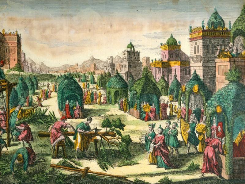 Суккот в Иерусалиме. Иллюстрация из книги 1780 года