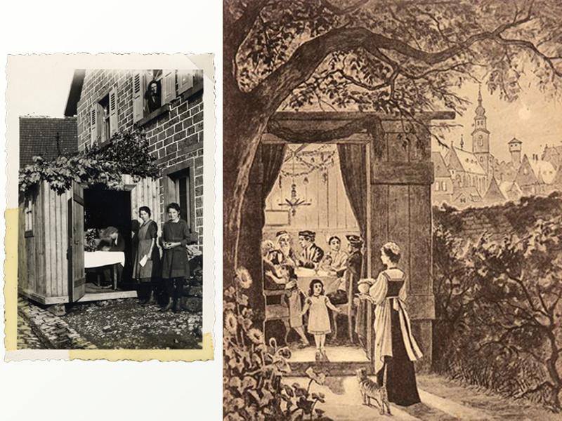 Слева: Сестры у входа в сукку. Германия, 1935 год. Справа: Hermann Junker. Открытка, 1900 год